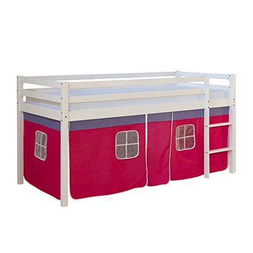 Homestyle4u 538, lit loft pour Enfants avec échelle, Rideau Rose, Bois Massif de pin Blanc, 90x200 cm