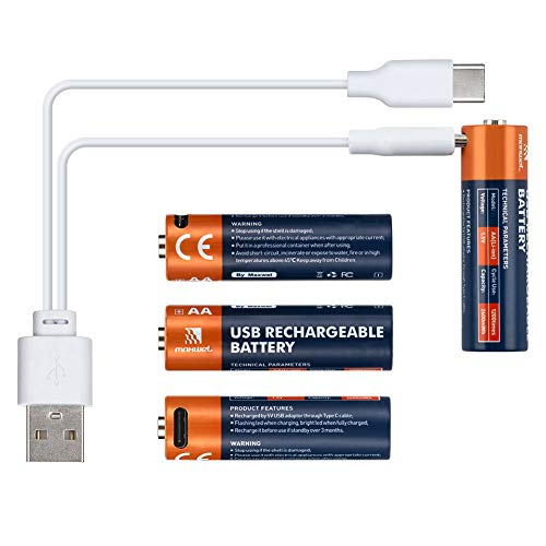 Rechargeable AA Batteries Lithium - 4 Pack 2600mWh 1.5V Lithium Ion AA Size Rechargeable Battery with USB Charge Cable Fast Full Charging in 1.5 Hours Long Lasting for Flashlight/Toys CE FCC Listed