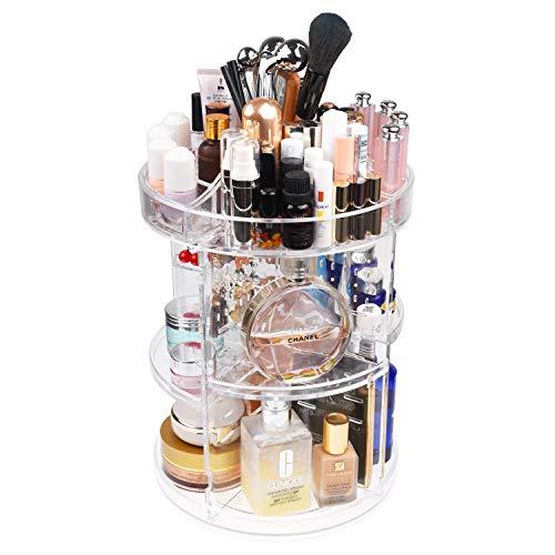 Kare & Kind 360-Grad-Acryl rotierender Make-up-Organizer – Aufbewahrung für Make-up, Kosmetik, Körperpflege und mehr - 4 einstellbare Fächer, 2X abnehmbare Lippenstifthalter, Ohrring-Fächer