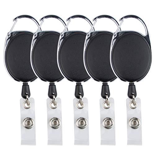5 tarjeteros con retractor negro, con mosquetón, con clip para el cinturón, y también con yoyó y cordón de 62 cm de grosor