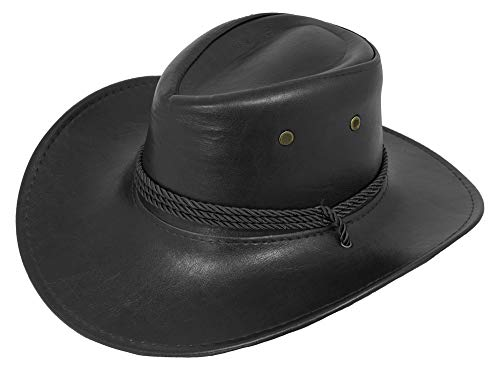 Das Kostümland Cowboyhut John im Lederlook zum Western Kostüm - Schwarz