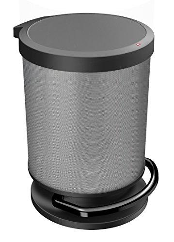Rotho Paso Mülleimer/Abfalleimer mit Deckel 20 l rund, Kunststoff (PP), carbon metallic, 20 Liter (35,7 x 30,2 x 43,2 cm)