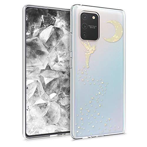 kwmobile Hülle kompatibel mit Samsung Galaxy S10 Lite - Handyhülle - Handy Case Fee Glitzer Gold Transparent