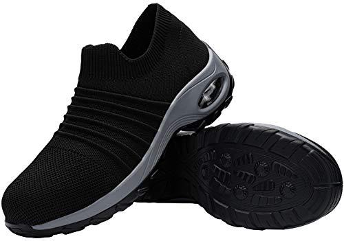 DYKHMILY Zapatillas de Seguridad para Mujer Ligeras, Air Cushion Zapatos de Trabajo con Punta de Acero Slip-on Comodo Respirable
