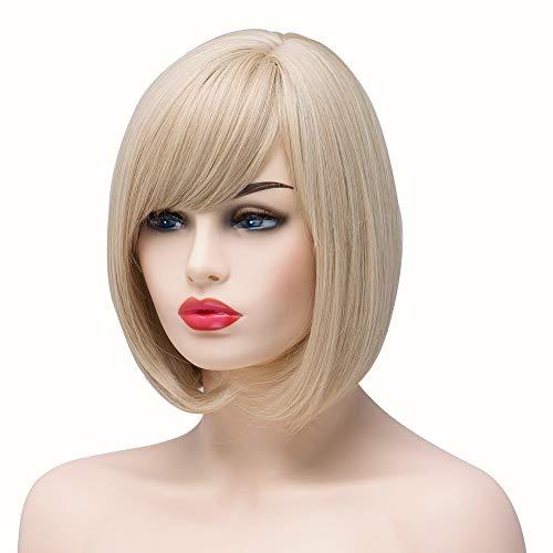 BESTUNG Peluca corta para mujer, pelo sintético, pelo completo, color rubio natural, fresa de miel,