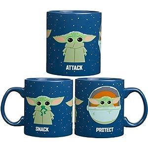 Taza de cerámica con diseño de búfalo de Star Wars The Mandalorian Protect Attack Snack, cerámica, azul, 20-Ounce 1