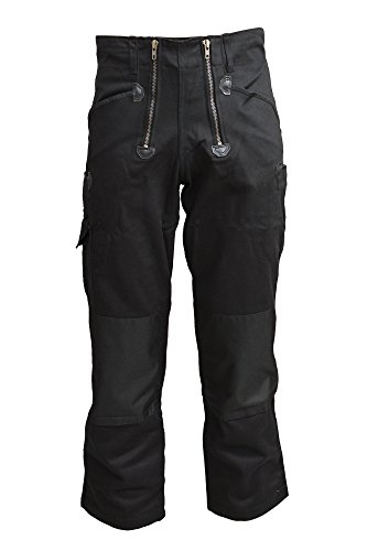 TMG® Zunfthose für Herren ohne Schlag, Lange Zimmermannshose mit Kniepolstertaschen 500gr Schwarz 48