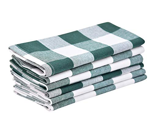 Buffalo Plaid Napkins - Buffalo Check Plaid Dinner Napkins, 100% Cotton, Set of 6 (18X18) Green/White - Cloth Napkins - Cotton Checked Napkin - Buffalo Check Kitchen Napkin - Green Plaid Cloth Napkin