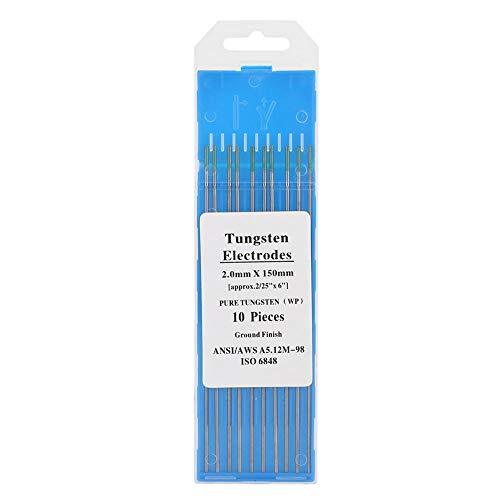 Electrodos de tungsteno puro, 10 piezas 250-400A 1.0/1.6/2.0/2.4/3.2 mm Electrodos de tungsteno puro de baja resistencia Punta verde WP para soldadura Tig de CA(2.4mm*150mm)