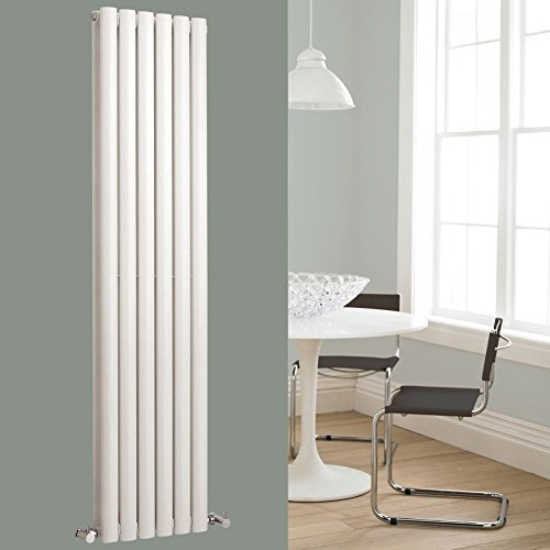 Hudson Reed HL326 Revive | Modern Bathroom Vertical Designer Double Panel Radiator, 1800mm x 354mm, High Gloss White, Set of 2 Pieces