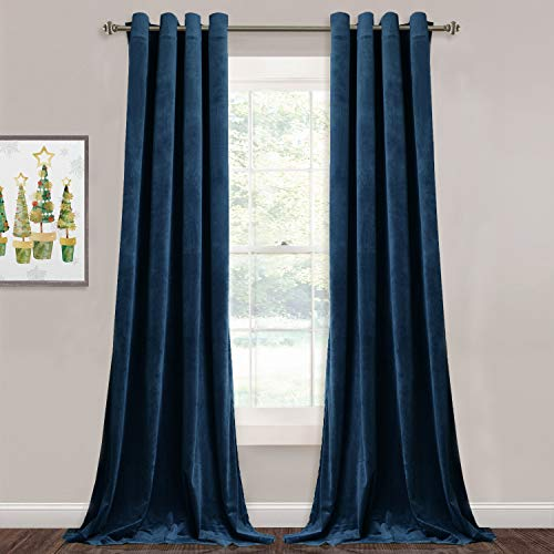 StangH Velvet Blackout Curtains Navy - Luxury Blue Curtains Velvet Textured Panel Drapes for Hotel Hall / Farmhouse Decor, Heavy Duty Summer Heat Block Out, Navy Blue, Wide 52 x Long 96 inches, 2 Pcs