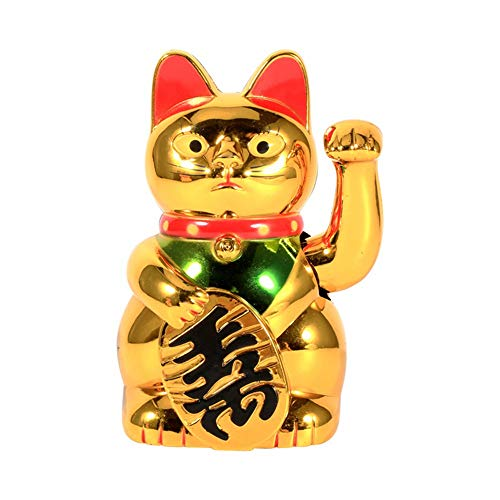 DIYARTS Lucky Cat China Oro Wealth Bonita Casa FengShui Decoración Acogiendo con Beneplácito Gato Mano Brazo Tienda Hotel Decoración Hogar (5in)