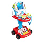 Doctor Cart Pretend Play Set Childrens Doctor Accessories Medical Kit Stethoscope Toys Organizer Role Playing Game Preschool Educational Toys for Kids 3 4 Year Olds (Red)