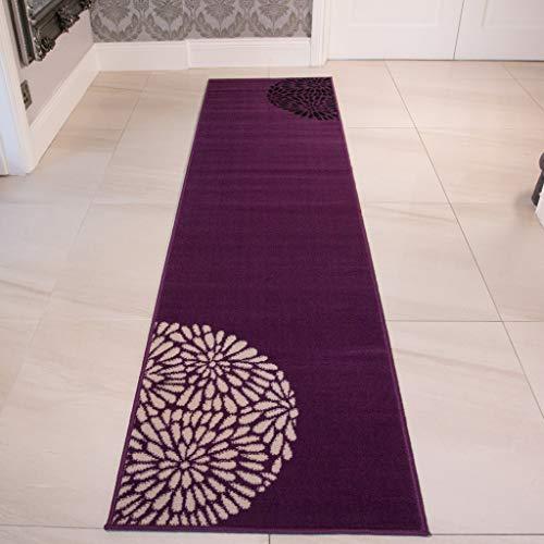 The Rug House Long Tapis de Salon Moderne Violet, Noir et Crème 60cm x 240cm (2ft 1\
