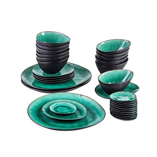 XXSHN Juego de vajilla de cerámica Vintage de 33 Piezas con 12 Platos de inmersión y Cuenco, 3 Platos de Cena, 6 Platos de Postre