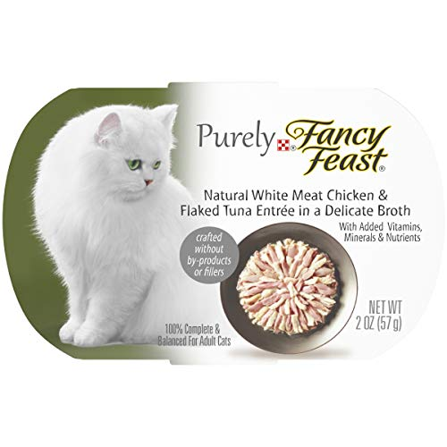 Purina Fancy Feast Natural Grain Free Wet Cat Food, Purely Natural White Meat Chicken & Flaked Tuna Entree - (10) 2 oz. Trays