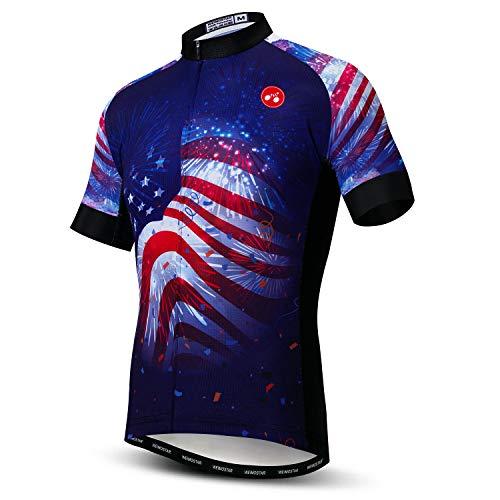 """Camisa masculina de ciclismo USA Bike manga curta 3 bolsos respirável secagem rápida P-3GG, Cf0131, M for Chest37-40.1"""",Max Waist40.9"""""""