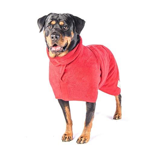 fushida Dog Badjas Handdoek Microvezel Huisdier Drogen Vochtabsorberende Handdoeken Jas voor Hond en Kat, Houdt Uw Hond, Thuis en Auto Schoon & Droog Super Absorbens FOCW21 (L, Rood)