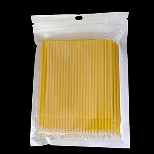 100 Pcs / Los Femmes Filles PVC Non-pelucheux Extension Applicateur Propre Fer à Cils Outil de Maquillage Sanitaire Durable Micro Jetable Cosmétique (Bleu Foncé), N° 0, jaune, Free Size