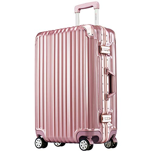 [トラベルハウス]Travelhouse スーツケース キャリーケース アルミフレーム 鏡面 超軽量 傷が目立ちにくい TSAロック(一年安心保証) (SS, ローズゴールド)