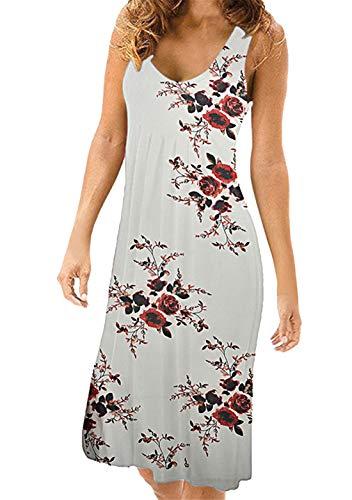 OMZIN Damen Kleider A-Linie Schulterfrei Sommer Kleider Rundhals Faltenrock Kleid Weiße Blume S