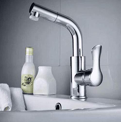 Grifo de Cocina, Grifo de lavabo Cascada negra Lavabo de baño Grifo de agua fría y caliente Grifo de lavabo de una manija