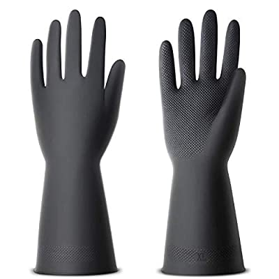 ThxToms 3 Pairs Chemical Resist Latex Gloves, Resist Acid Heavy Duty Gloves for Industry Farming Work, Large