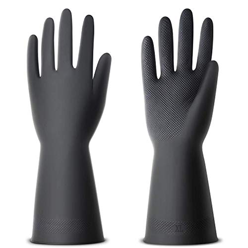 ThxToms 3 Pairs Chemical Resist Latex Gloves, Resist Acid Heavy Duty Gloves for Industry Farming Work,Extral Large