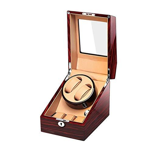 XIUWOUG Caja giratoria automática para relojes de pulsera, caja de madera, pintura de piano exterior, doble fuente de alimentación, motor silencioso (color: marrón, tamaño: 2 + 3)