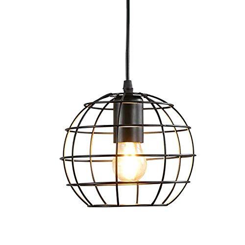 E27 schwarze Pendelleuchte im Industrie Design, Hängeleuchte aus Metall für Esszimmer, Deckenlampe mit offenem Lampenschirm, LED Leuchtmittel geeignet