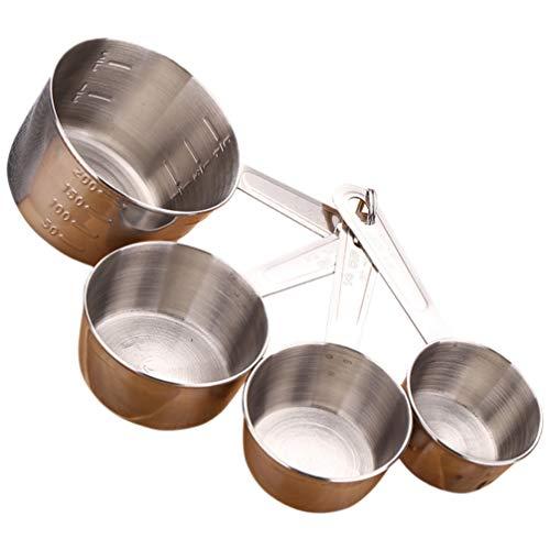 Hemoton 4 Piezas Tazas de Medir Y Cuchara Medidora de Acero Inoxidable Cuchara de Medida de Cocina Taza Cucharas de Condimento Cucharada de Cucharadita para Cocina