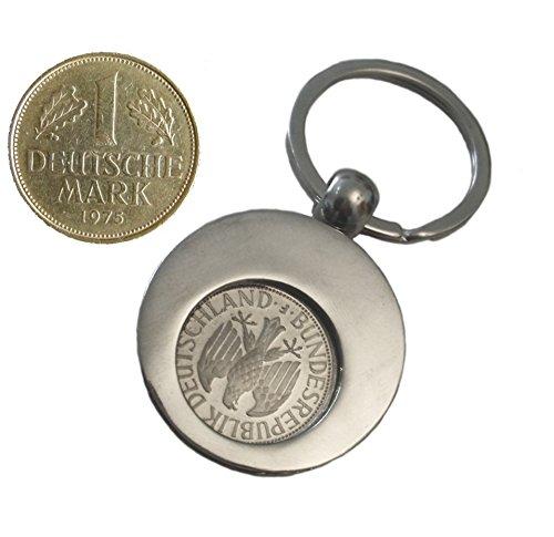 WallaBundu Geschenkidee zum 45. Geburtstag. 1 DM von 1975 im Münzhalter (auch für Einkaufswagen). Echte Münze aus Umlauf und Taschenkalender als Nachdruck. Originell angewandte Nostalgie…