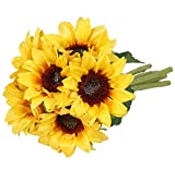 Meiliy 6 Pcs Artificial Sunflower Bouquet Fake Sunflowers with Stems for Wedding Bride Bridesmaid Holding Flowers Bulk for Home Hotel Office Wedding Party Garden Craft Art Decor