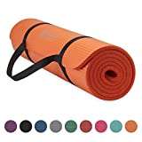 Gaiam Essentials Thick Yoga Mat Fitness & Exercise Mat with Easy-Cinch Yoga Mat Carrier Strap, Orange, 72'L x 24'W x 2/5 Inch Thick
