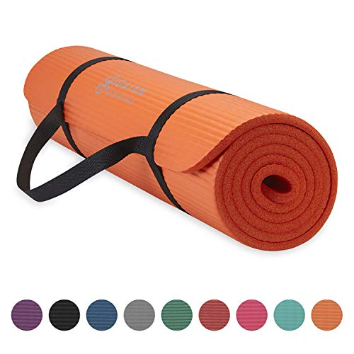 """Gaiam Essentials Thick Yoga Mat Fitness & Exercise Mat with Easy-Cinch Yoga Mat Carrier Strap, Orange, 72""""L x 24""""W x 2/5 Inch Thick"""