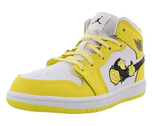 Jordan 1 Mid SE PS Girls Shoes Size 3, Color: Dynamic Yellow/Black/White