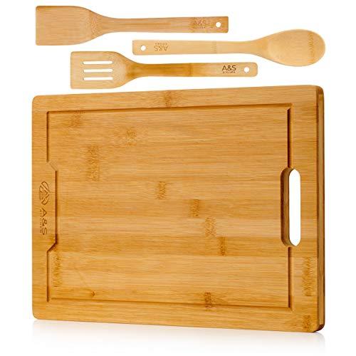 A&S KITCHEN Planche à découper en bambou bio avec lot de trois ustensiles en bambou – Planche à découper en bois respectueuse de l'environnement et facile à nettoyer – Excellente idée cadeau