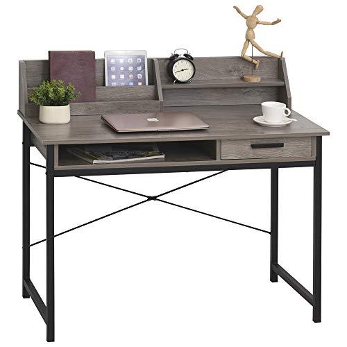 HOMCOM Schreibtisch mit Regal Schublade, Computertisch, Bürotisch, industrieller Stil, MDF, Metall, Grau+Schwarz, 106 x 53 x 95 cm