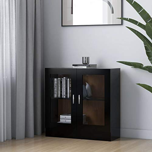 FAMIROSA Vitrina de aglomerado Negro 82,5x30,5x80 cm