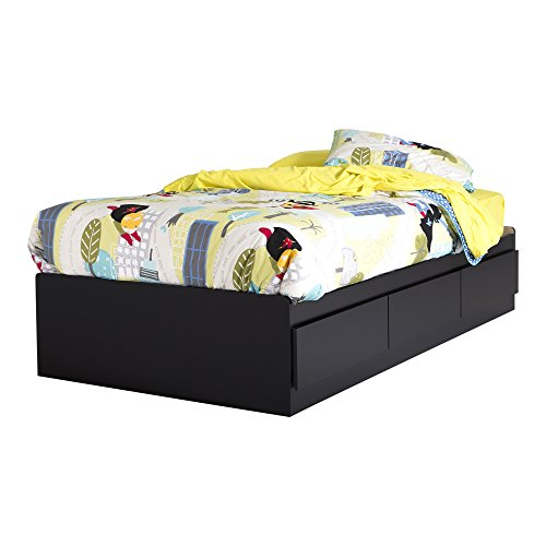 South Shore 39-Inch Vito Mates Bed with 3 Drawers, Twin, Pure Black