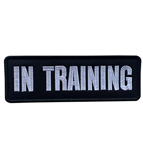 uuKen Embroidery Fabric Cloth Police K9 in Training Service Dog Embroidered Military Tactical Patch 6x2 inches with Hook Fastener Back for Tactical Vest or Harness (Black and White, 6'x2')