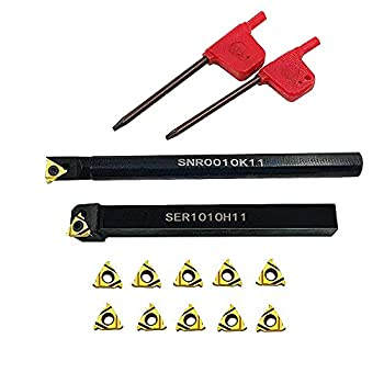 Lathe Threading Tool External/Internal Threading Holder SER 1010H11+ SNR 0010K11 Threading Inserts with 11ER AG60 11IR AG60 for Boring Bar Holder  SER1010H11+SNR0010K11+11ER A60+11IR A60  Gold