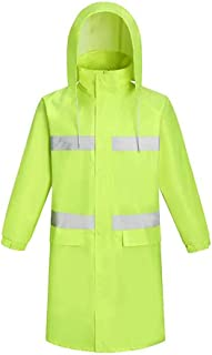 YUHANG Men's Long Raincoat Waterproof Rain Jacket Reusable Rain Poncho with Hood Hiking Fishing Rainwear for Adult