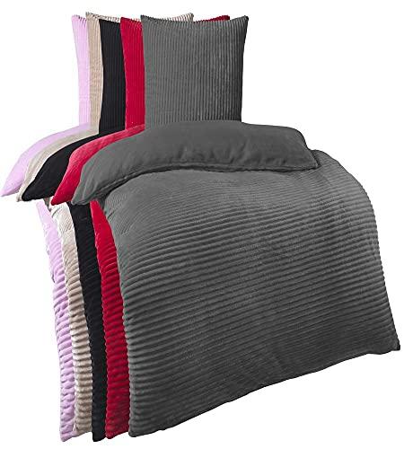 Kuscheli® Winter Wende Plüsch Bettwäsche 135 x 200 od. 155 x 220 mit 80x80 Kissenbezug Cashmere-Touch Coral Fleece Deckenbezug, Farbe:Grau, Größe:135x200 + 80x80