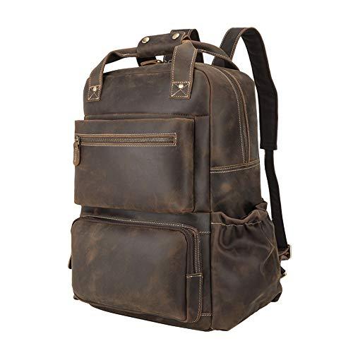 TIDING Full Grain Leather Laptop Backpack 15.6 for men Travel Daypack Business Rucksacks...