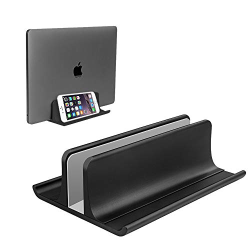 Vertical Laptop Stand Holder 3 in 1 Space-Saving Adjustable Desktop Notebook Dock for All MacBook Pro Air, Mac,HP, Dell, Microsoft Surface,Lenovo, up to 17.3 inch Black
