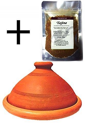 Marokkanische Tajine, Inklusive Tajine Gewürzmischung | Tagine, unglasiert frei von Schadstoffe, original aus Marokko | Tontopf zum Kochen, Tuareg Ø 35cm, für 6-8 Personen | Handarbeit aus Marrakesch | in verschiedene Größen
