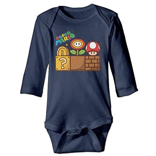 SDGSS Ropa para bebés Bodysuits Super Mario Mushroom Gold Flower Baby Long Sleeve Bodysuit
