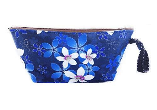 Nouvelle Trousse de Toilette Trousse de Maquillage imperméable-Queen & Cat/Trousse de Toilette/Trousse Scolaire/Sac cosmétique/Sac de Voyage (Fleur Tung Fond Bleu)