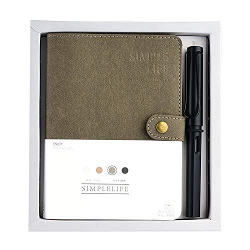 FTVOGUE Portátil de Cuero Recargable Conjunto Clásico Cuaderno de Viaje de Cuero de La PU Cuaderno de Viaje con Bolígrafo Ournal(Dark Brown)